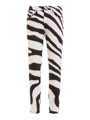 ROBERTO CAVALLI: jeans skinny - Jeans in denim fantasia zebrata