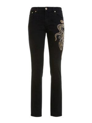 Roberto Cavalli: straight leg jeans - Embroidered snake jeans
