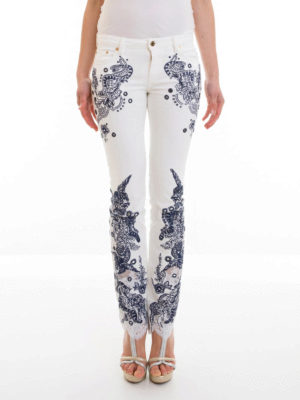 Roberto Cavalli: straight leg jeans online - Embroidered jeans