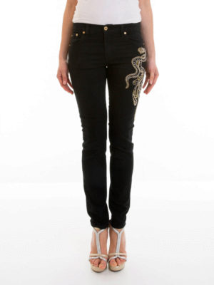 Roberto Cavalli: straight leg jeans online - Embroidered snake jeans