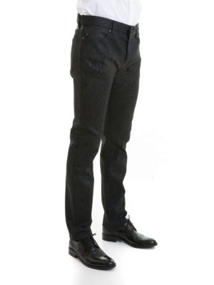 Roberto Cavalli: straight leg jeans online - Pattern jeans with leather inserts