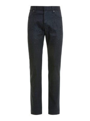 Roberto Cavalli: straight leg jeans - Pattern jeans with leather inserts