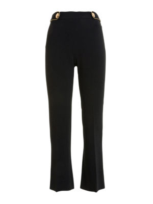 Roberto Cavalli: Tailored & Formal trousers - Logo buttons bootcut cady trousers