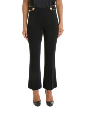 Roberto Cavalli: Tailored & Formal trousers online - Logo buttons bootcut cady trousers