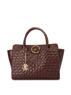 Roberto Cavalli Quilted leather brown bag e7TGqi57