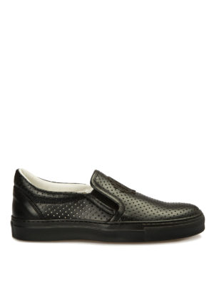 Roberto Cavalli: trainers - Drilled leather slip-ons