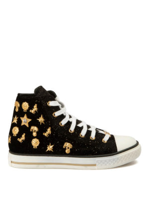Roberto Cavalli: trainers - Embellished velvet shoes
