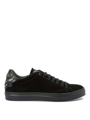 ROBERTO CAVALLI: sneakers - Sneaker in camoscio con ricamo sul tallone