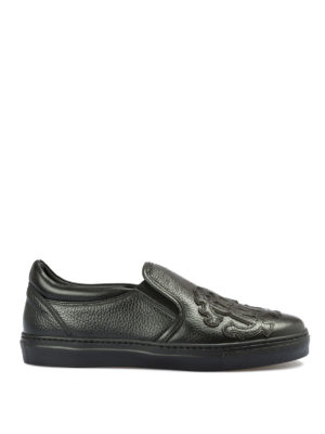 ROBERTO CAVALLI: sneakers - Slip-on in pelle con patch maxi logo