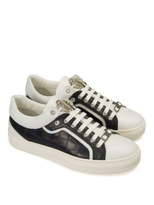 Roberto Cavalli: trainers online - Croco print side leather sneakers