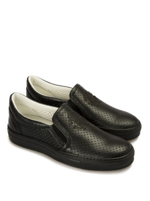 Roberto Cavalli: trainers online - Drilled leather slip-ons