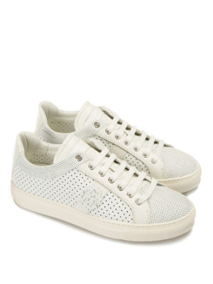 Roberto Cavalli: trainers online - Drilled leather sneakers