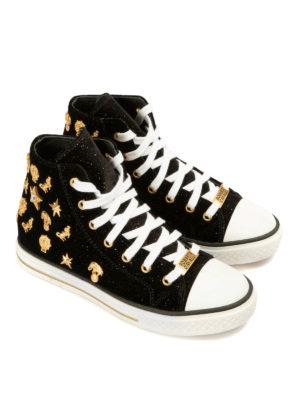 Roberto Cavalli: trainers online - Embellished velvet shoes