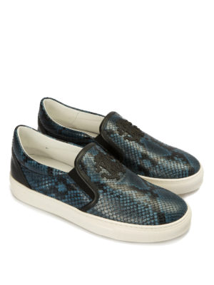 Roberto Cavalli: trainers online - Python print leather slip-ons