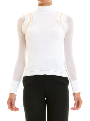Roberto Cavalli: Turtlenecks & Polo necks online - Gold-tone chain knitted turtleneck