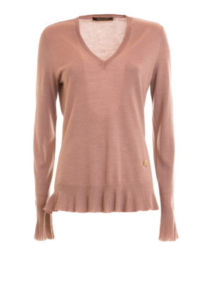 Roberto Cavalli: v necks - Flounced edges V-neck pullover