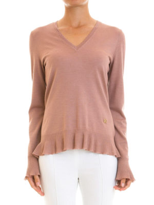 Roberto Cavalli: v necks online - Flounced edges V-neck pullover