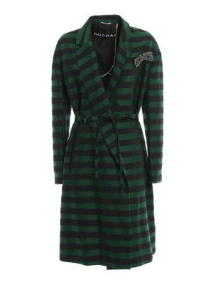 Rochas: knee length coats - Jewel brooch striped coat