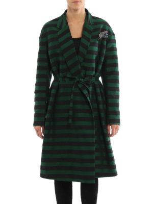 Rochas: knee length coats online - Jewel brooch striped coat
