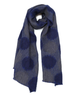Roda: scarves - Blue jacquard wool blend scarf