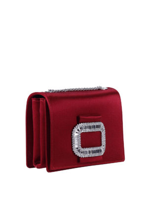 Roger Vivier: cross body bags online - Pilgrim Micro embellished satin bag