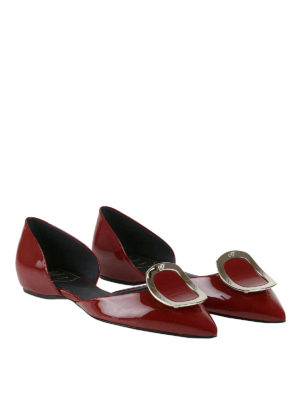 Roger Vivier: flat shoes online - Dorsay red patent flats
