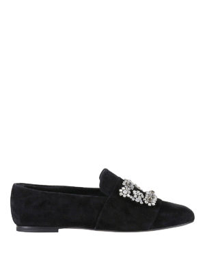 Roger Vivier: Loafers & Slippers - Flower Strass suede slippers