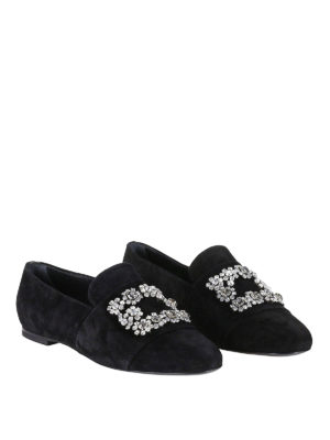 Roger Vivier: Loafers & Slippers online - Flower Strass suede slippers