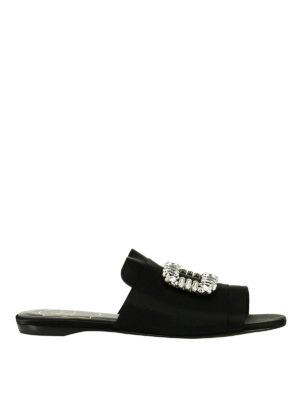 Roger Vivier: sandals - Rabat sateen jewel sandals