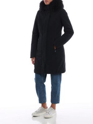 RRD: cappotti imbottiti online - Piumino Long Lady Fur blu scuro con cappuccio