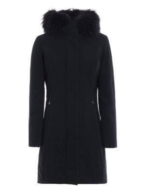 RRD: cappotti imbottiti - Piumino Long Lady Fur blu scuro con cappuccio