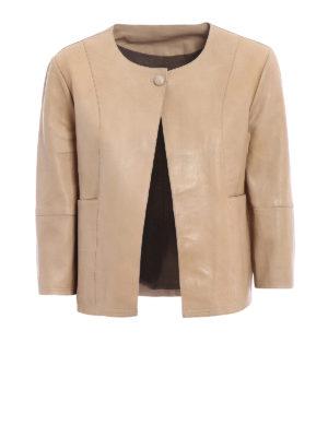 S.W.O.R.D 6.6.44 London: leather jacket - Beige stretch leather jacket