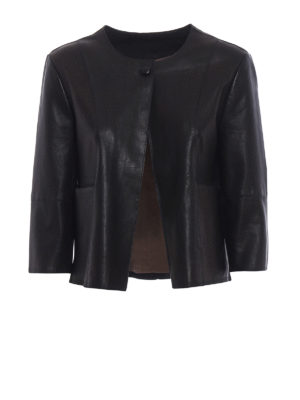 S.W.O.R.D 6.6.44 London: leather jacket - Black stretch leather jacket