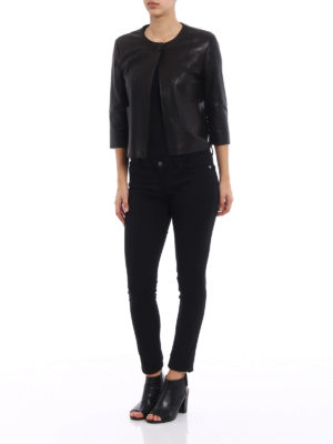 S.W.O.R.D 6.6.44 London: leather jacket online - Black stretch leather jacket