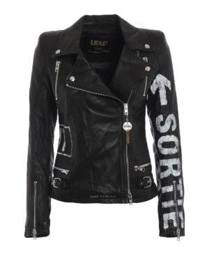 S.W.O.R.D: giacche in pelle - Giacca biker in nappa con stampe