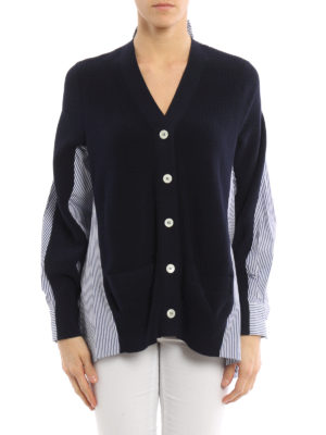 Sacai: cardigans online - Shirt detail cardigan