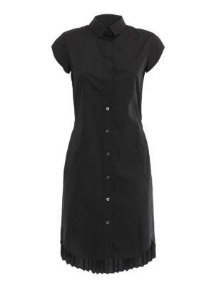 Sacai: knee length dresses - Pleated back shirt dress