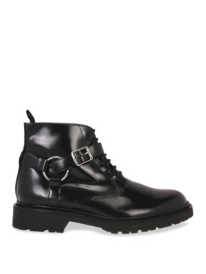 Saint Laurent: ankle boots - HARNESS LEATHER BOOTIES