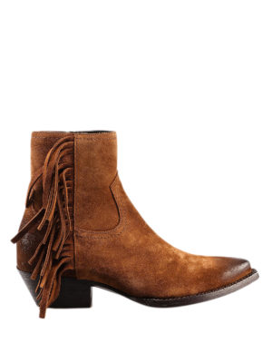 SAINT LAURENT: ankle boots - Lukas fringed suede ankle boots