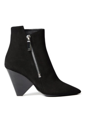Saint Laurent: ankle boots - Niki 85 asymmetric leather booties