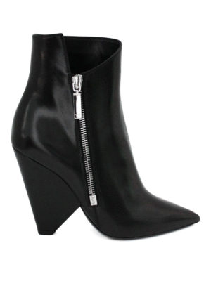 Saint Laurent: ankle boots - Niki asymmetric leather booties
