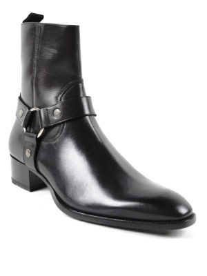 Saint Laurent: ankle boots online - Wyatt harness strap detail booties