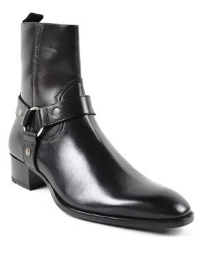 Saint Laurent: ankle boots online - Wyatt harness strap detail booties