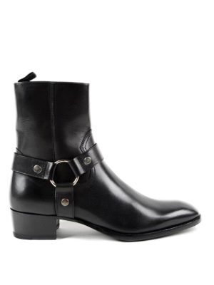 Saint Laurent: ankle boots - Wyatt harness strap detail booties