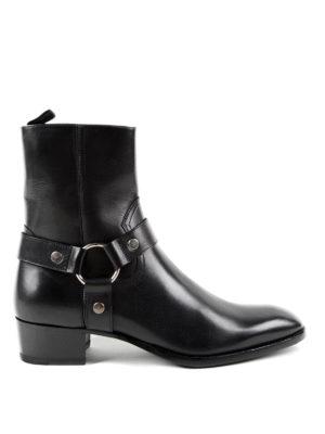 Saint Laurent: ankle boots - Wyatt harness strap detail booties