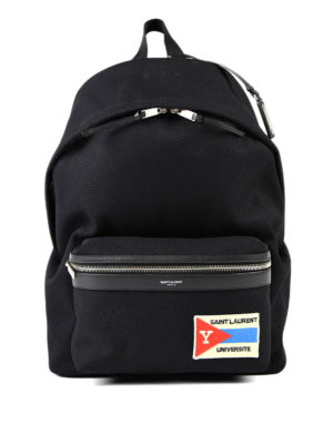 Saint Laurent: backpacks - City cotton backpack with patch