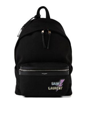 Saint Laurent: backpacks - City studded logo print backpack