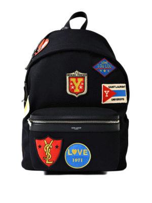 Saint Laurent: backpacks - City twill backpack with patches