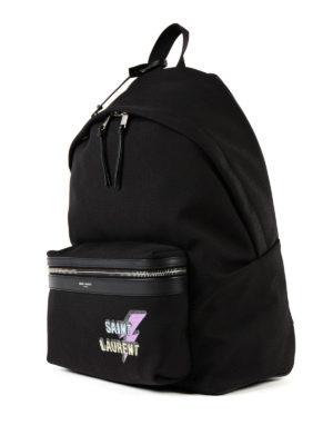 Saint Laurent: backpacks online - City studded logo print backpack