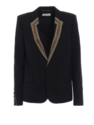 Saint Laurent: blazers - Embroidered lapels wool blazer